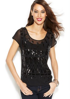 INC International Concepts Cap-Sleeve Illusion Sequined Top