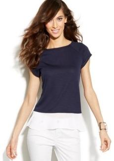 INC International Concepts Cap-Sleeve Layered-Look Sweater