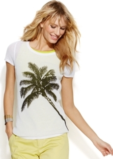 INC International Concepts Cap-Sleeve Palm Tree Perforated Sweater