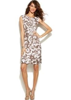 INC International Concepts Cap-Sleeve Printed Keyhole Dress