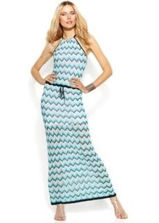 INC International Concepts Chevron-Knit Halter Maxi Dress