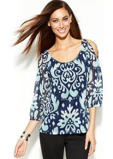 INC International Concepts Petite Cold-Shoulder Printed Peasant Top
