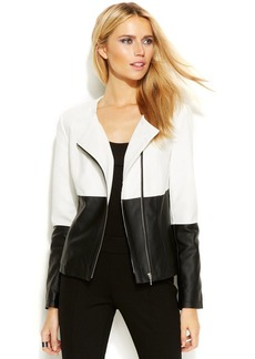 INC International Concepts Colorblocked Faux-Leather Moto Jacket