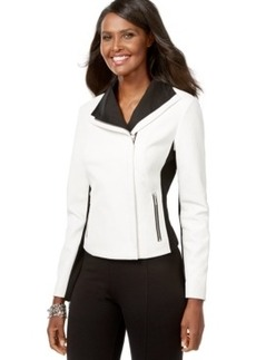 Inc International Concepts Colorblocked Faux-Leather Moto Jacket, Only at Macy's