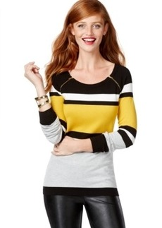 Inc International Concepts Colorblocked Zip-Shoulder Sweater, Only at Macy's