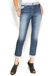 INC International Concepts Contrast-Trim Knit Boyfriend Denim