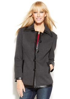 INC International Concepts Petite Faux-Leather-Trim Knit Jacket