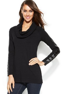 INC International Concepts Cowl-Neck Faux-Leather-Trim Sweater