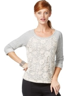 Inc International Concepts Crochet-Front Sweatshirt, Only at Macy's