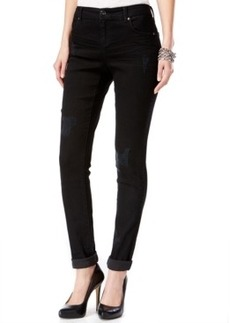 Inc International Concepts Curvy-Fit Ripped Skinny Jeans, Black Wash, Only at Macy's
