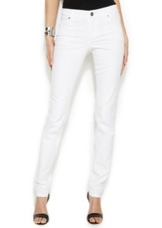 INC International Concepts Curvy-Fit Skinny Jeans, White Wash