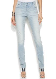 INC International Concepts Curvy-Fit Striped Skinny Jeans, Indigo Wash