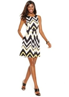 INC International Concepts Cutout-Back Chevron Flare Dress