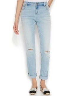 INC International Concepts Distressed Boyfriend Jeans, Mid Wash