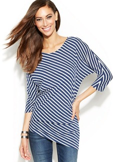 INC International Concepts Dolman-Sleeve Striped Asymmetrical Top