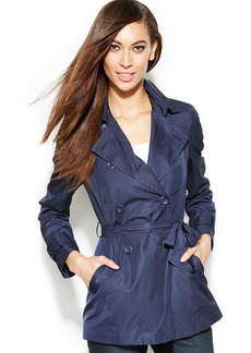 INC International Concepts Petite Double-Breasted Belted Trench Coat