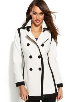 INC International Concepts Petite Double-Breasted Contrast-Trim Pea Coat