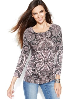 INC International Concepts Drape-Neck Printed Ruched Top