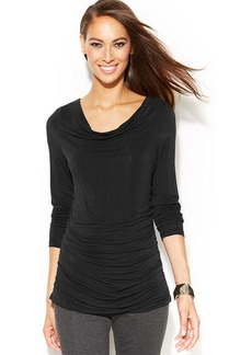 INC International Concepts Drape-Neck Ruched Top