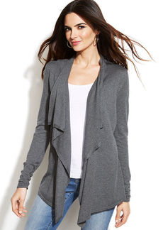 INC International Concepts Draped Asymmetrical Open-Front Cardigan