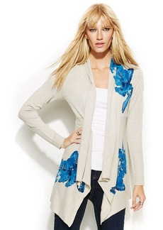 INC International Concepts Petite Draped Floral-Print Sequined Cardigan