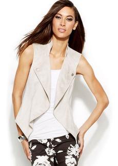 INC International Concepts Petite Draped Open-Knit Vest