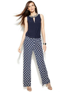 INC International Concepts Petite Embellished Printed-Leg Jumpsuit