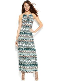 INC International Concepts Embellished Printed Maxi Halter Dress