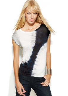 INC International Concepts Embellished-Sleeve Tie-Dye Top