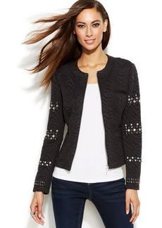 INC International Concepts Petite Embellished-Sleeve Zip-Front Textured Jacket