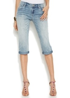 INC International Concepts Embroidered Capri Jeans, Delight Wash