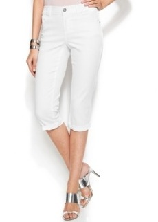 INC International Concepts Embroidered Capri Jeans, White Wash