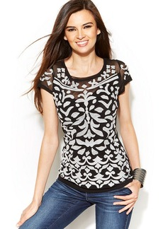 INC International Concepts Embroidered Illusion-Sleeve Top