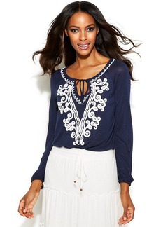 INC International Concepts Embroidered Keyhole Peasant Top