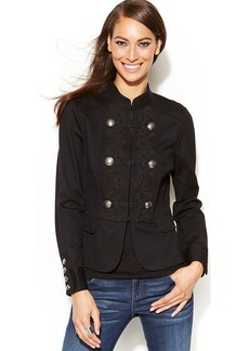 INC International Concepts Petite Embroidered Military Peplum Jacket