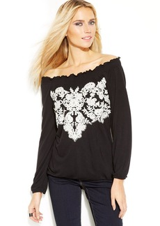 INC International Concepts Embroidered Peasant Top