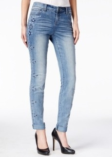 Inc International Concepts Embroidered Skinny Jeans, Mid-Indigo Wash, Only at Macy's