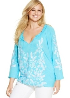 Inc International Concepts Embroidered Tie-Front Tunic