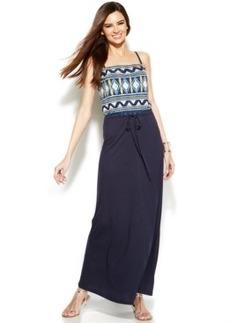 INC International Concepts Embroidered Tie-Waist Maxi Dress