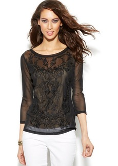 INC International Concepts Embroidered Top