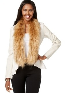 Inc International Concepts Faux-Fur Trim Draped Jacket, Only at Macy's