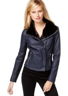 Inc International Concepts Faux-Fur-Trim Moto Jacket, Only at Macy's