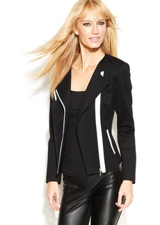 INC International Concepts Faux-Leather Contrast Moto Jacket