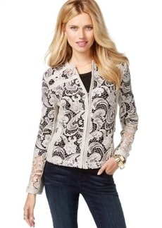 Inc International Concepts Faux-Leather Lace Jacket, Only at Macy's