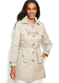 INC International Concepts Faux-Leather-Trim Belted Trench Coat