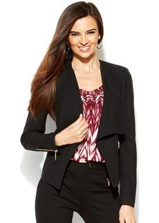 INC International Concepts Faux-Leather-Trim Drape-Front Jacket
