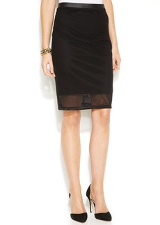 INC International Concepts Faux-Leather-Trim Mesh Pencil Skirt