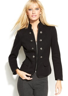 INC International Concepts Faux-Leather-Trim Military Jacket