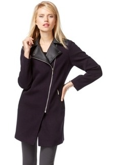 Inc International Concepts Faux-Leather-Trim Moto Coat, Only at Macy's