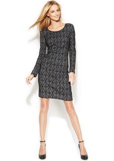 INC International Concepts Faux-Leather-Trim Printed Sheath Dress